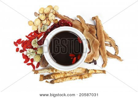 Chinese traditional herbs and medicine,Isolated on white background.