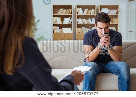 Man suffering from phone dependence visiting doctor