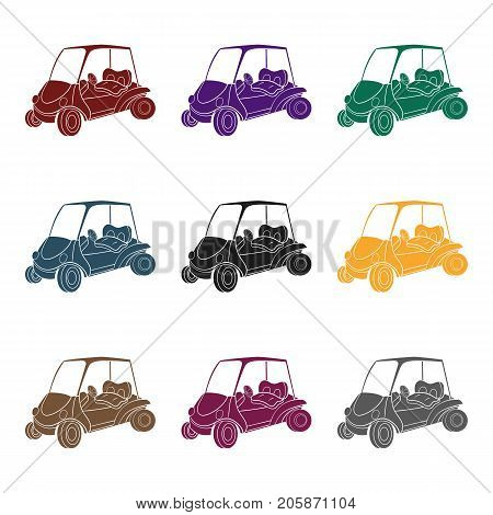 Golf cart icon in black style isolated on white background. Golf club symbol vector illustration.