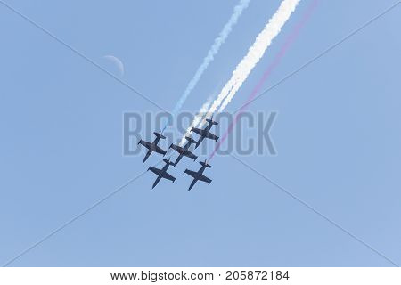 Patriots L-39 Jet Team Performing At The Miramar Air Show