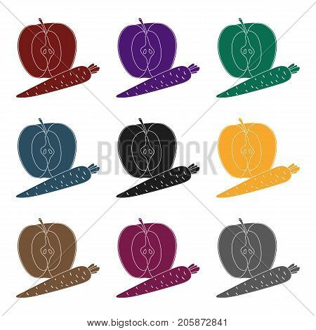 An Apple and a carrot. Healthy eating for athletes.Gym And Workout single icon in black style vector symbol stock web illustration.