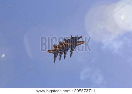 U.s. Navy Blue Angels Performing At The Miramar Air Show