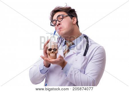 Funny doctor with skull isolated on white