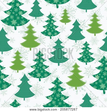 Vector green and white scattered christmas trees winter holiday seamless pattern. Great for fabric, wallpaper, packaging, giftwrap. Surface pattern design.