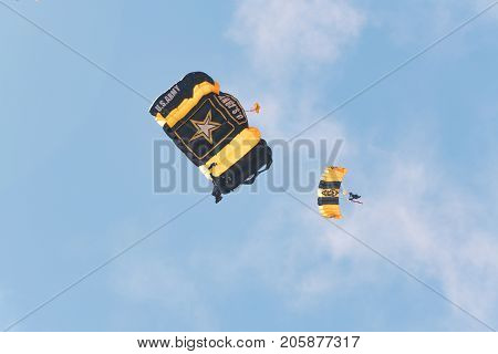 Golden Knights Army Parachute Team Performing At The Miramar Air Show