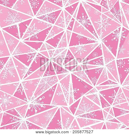 Vector abstract pink christmass snowflakes on triangles repeat seamless pattern background. Can be used for fabric, wallpaper, stationery, packaging. Surface pattern design.