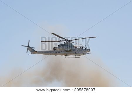 U.s. Navy Ah-1 Cobra Helicopter Performing At The Miramar Air Show