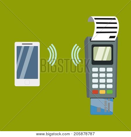 Nfc payment flat design style vector illustration, pos terminal confirms the payment using a smartphone, vector illustration, banner, sign