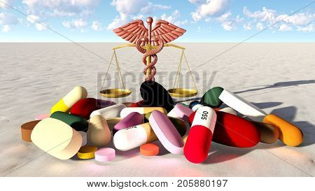 Conceptual view of natural virtue in practice of medicine 3d rendering