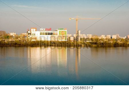 Kiev,Ukraine, APRIL  23, 2013: Construction of a new shopping mall on the river bank in Kiev