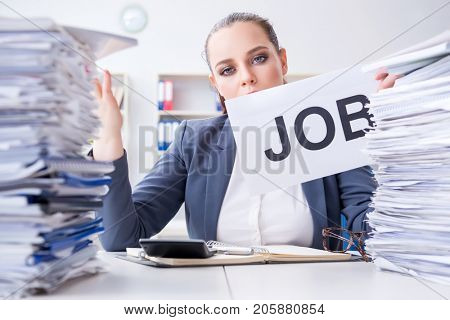 Businesswoman not coping with workload and resigning