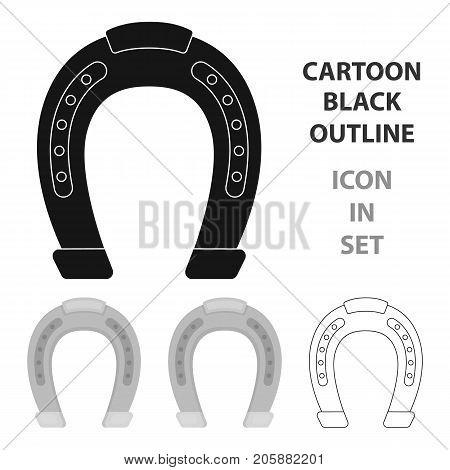 Horseshoe icon in cartoon design isolated on white background. Hippodrome and horse symbol stock vector illustration.