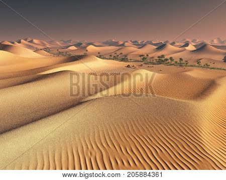 worldwide warming concept. solitary sand ridges under impressive evening sundown sky at drought desert scenery 3d rendering