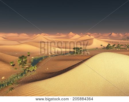 Global warming idea. solitary sand ridges under impressive evening sunset sky at drought desert scenery 3d rendering
