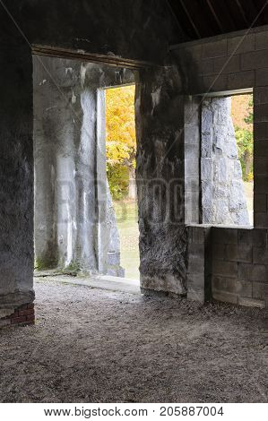 Interior of abandoned Old Stone Church in West Boylston Massachusetts