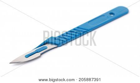 Disposable surgical scalpel isolated on white