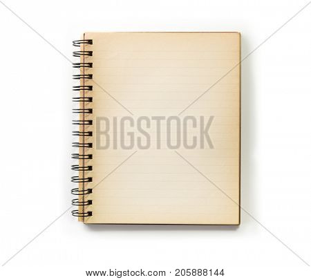 Old note book isolated on white. Not an photo editing effect, Actual old note book.
