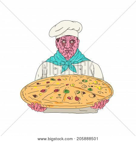 Zombie Chef Holding Pizza Pie Grime Art