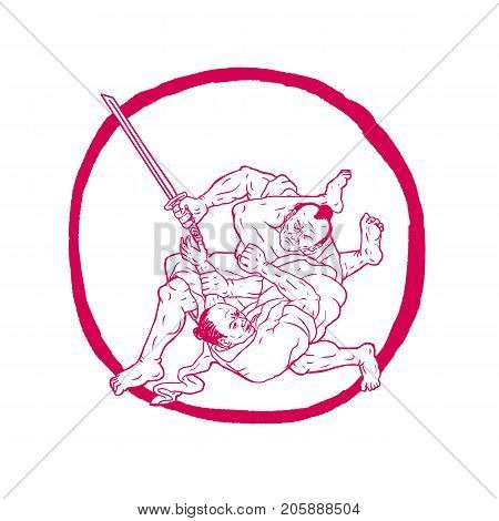 Drawing sketch style illustration of a Samurai warrior with katana sword Jui Jitsu Fighting or judo set inside Enso Circle on isolated background.