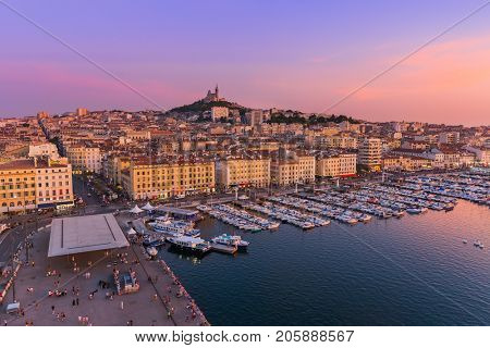 Marseille, France - August 03, 2017: Old Port and Basilica of Notre Dame.