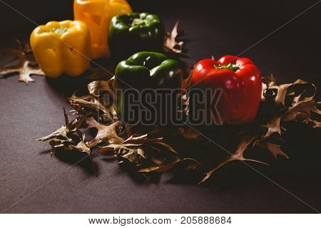 High angle view of carved bell pepper with autumn leaves on wooden table