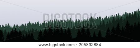 panoramic vector illustration of a forest under a overcast gray sky layered