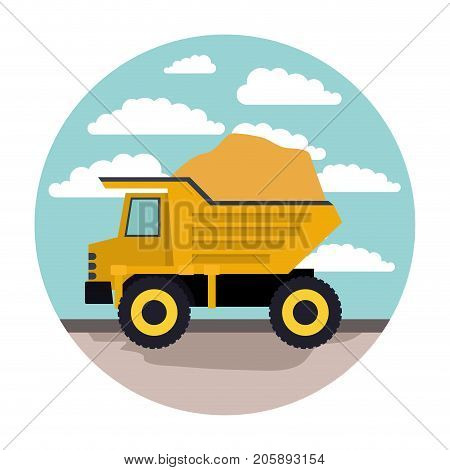 dump truck in circular frame with cloud landscape on colorful silhouette vector illustration