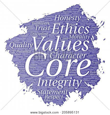 Conceptual core values integrity ethics paint brush concept word cloud isolated background. Collage of honesty quality trust, statement, character, perseverance, respect and trustworthy