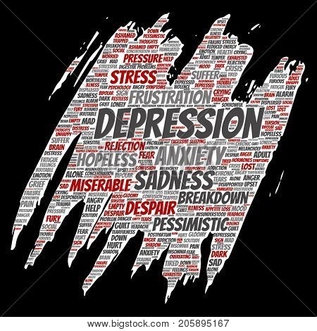 Conceptual depression or mental emotional disorder problem paint brush or paper word cloud isolated background. Collage of anxiety sadness, negative sad, despair, unhappy, frustration symptom