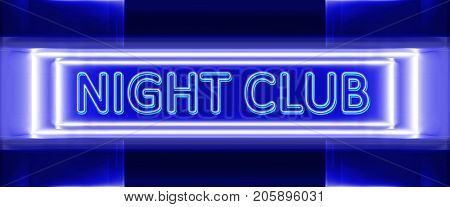 highly technological design of blue neon sign of night club