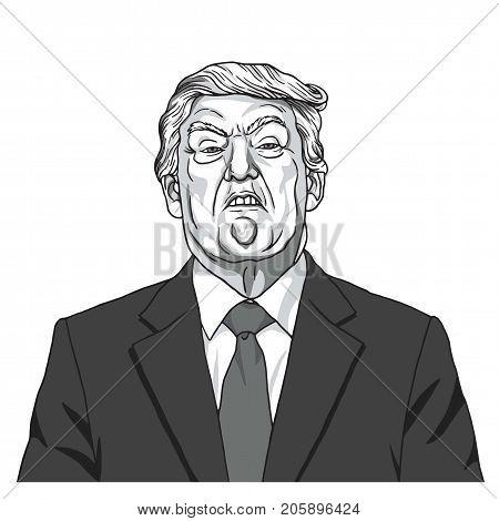 Donald Trump Portrait. Black and White Caricature Illustration Vector. September 27, 2017