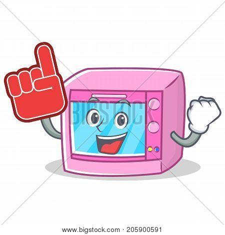 Foam finger oven microwave character cartoon vector illustration