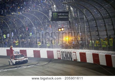 September 09, 2017 - Richmond, Virginia, USA: Kyle Larson (42) takes the checkered flag and wins the Federated Auto Parts 400 at Richmond Raceway in Richmond, Virginia.