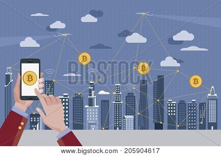 Hands with a mobile phone. Bitcoin icon on mobile phone. Blockchain Concept