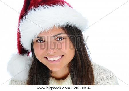 Closeup portrait of a happy young woman wearing a Santa Claus Hat. horizontal format isolated on white.