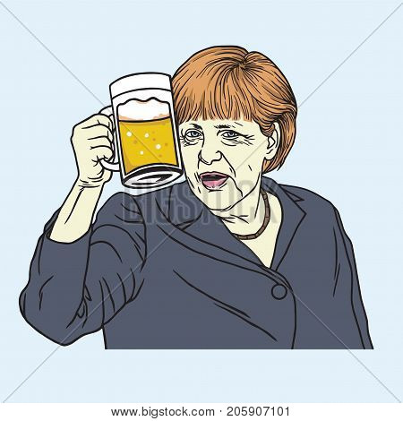 Angela Merkel Octoberfest. Vector Illustration drawing. September 27, 2017