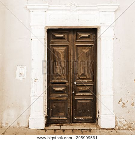 Wooden Door in Tel Aviv Vintage Style Sepia