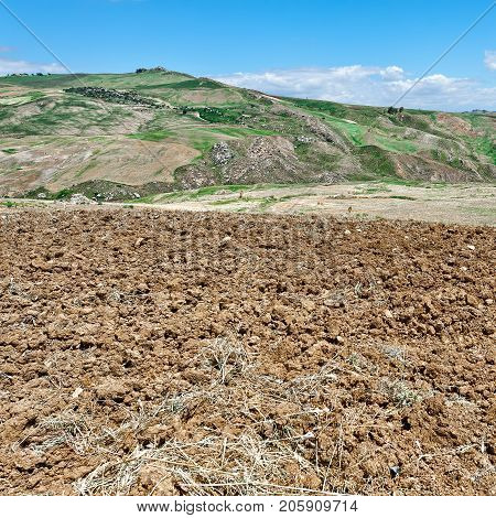 Plowed Sloping Hills of Sicily in the Spring