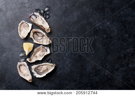 Opened oysters, ice and lemon on stone table. Half dozen. Top view with copy space