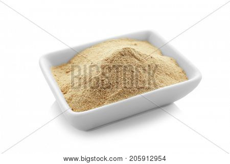 Bowl with maca powder, isolated on white