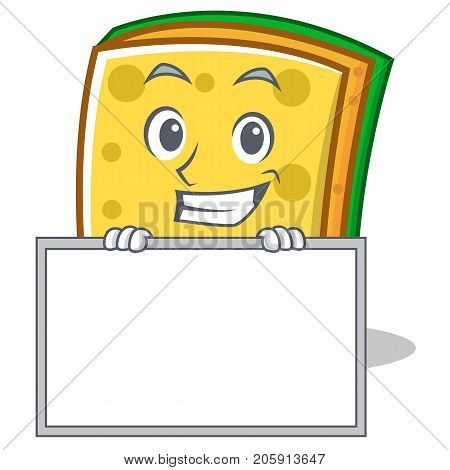 Grinning with board sponge cartoon character funny vector illustration