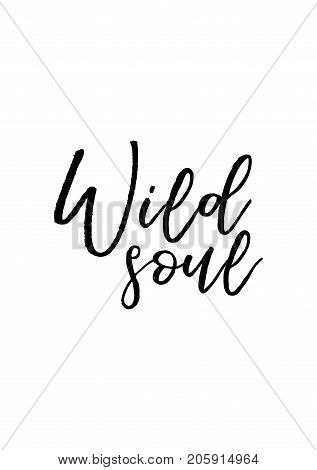 Hand drawn lettering. Ink illustration. Modern brush calligraphy. Isolated on white background. Wild soul.