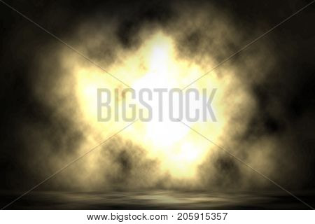 Yellow spotlight blast show smoke stage background.