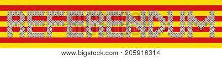 Referendum text made of votes on Catalan flag illustration