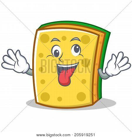 Crazy sponge cartoon character funny vector illustration
