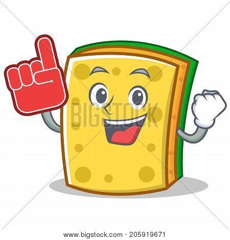 Foam finger sponge cartoon character funny vector illustration