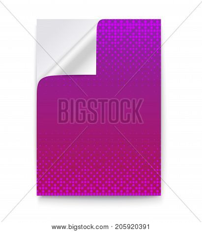 Layout template in A4 size, business brochure, flyer design, blank paper poster with curved corner on white background. Pink-violet sheet of paper with the folded corner, 3D illustration.