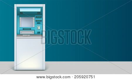 Bank Cash Machine. Apparatus for withdrawing is on the floor. Template with ATM terminal for advertisement on horizontal long backdrop, 3D illustration with place for text.