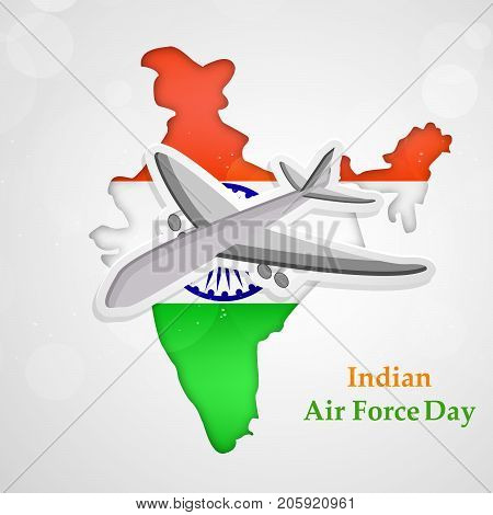 illustration of Aircraft and India map in India flag background with Indian Air Force Day text on the occasion of Indian Air Force Day