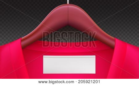Wooden clothes hangers with red clothes, empty tag on the collar. Horizontal template on transparent background for advertising of sales or new arrivals. Place for your text on white tag on clothing.